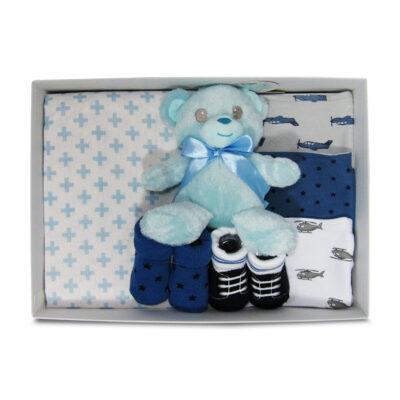teddy bear basic baby boy gift box