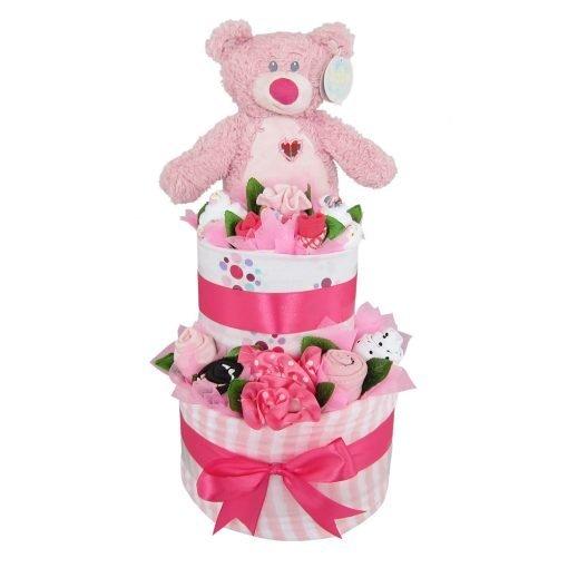 teddy bear baby girl double layer nappy cake